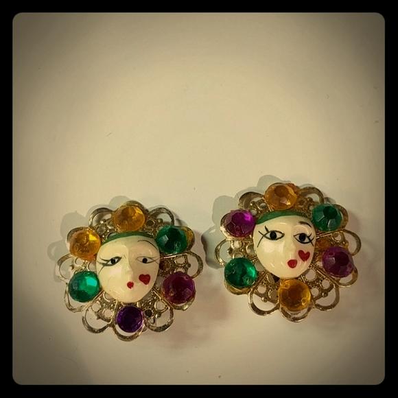 Vintage Mardi Gras Clip On Earrings